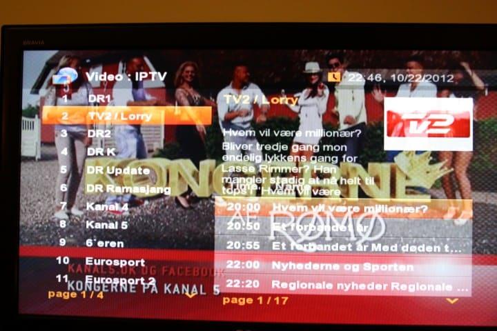 PIP visning af world tv, med tv-guide overlay