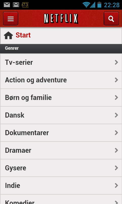 Netflix navigation Android