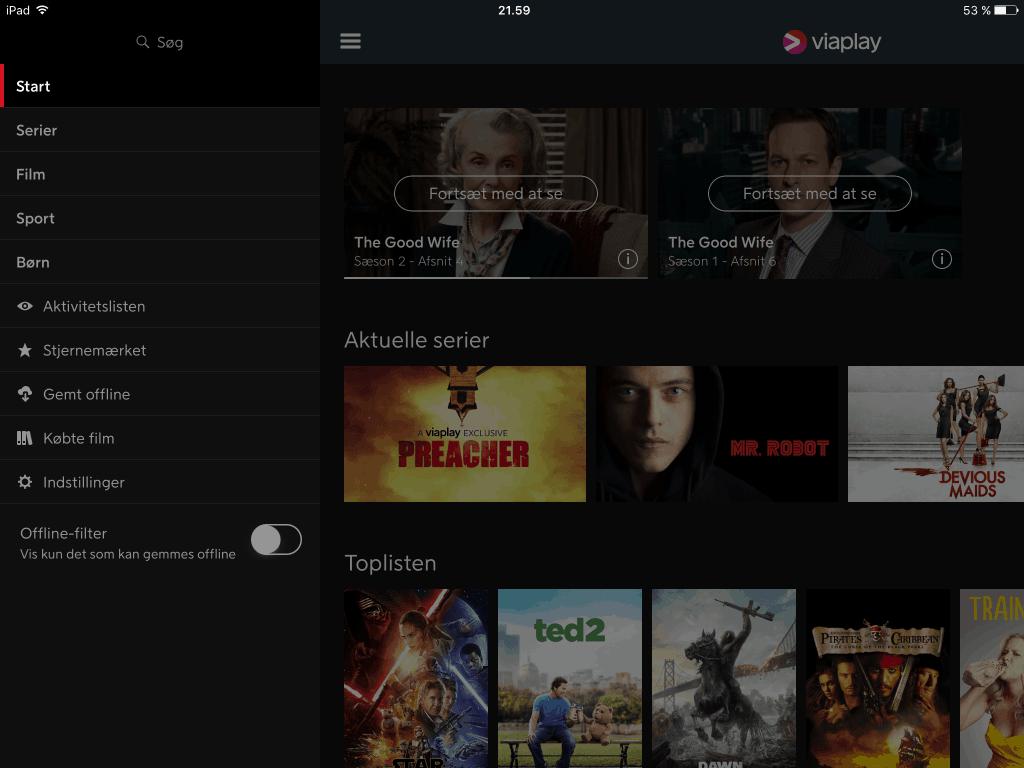 viaplay menu iPad